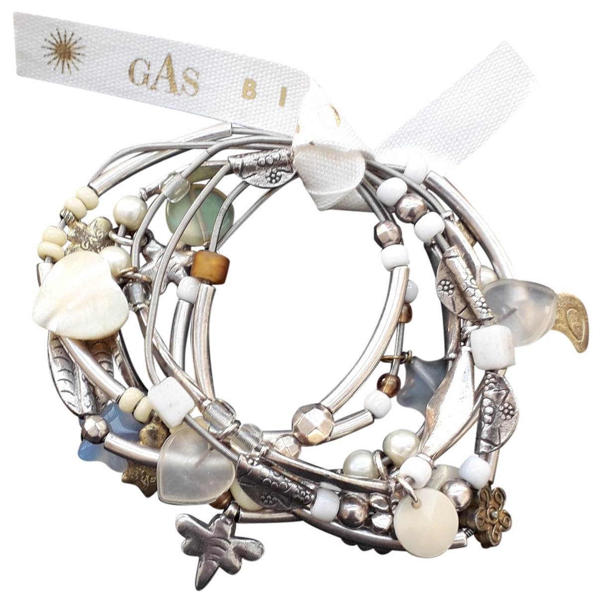 Gas \N Armband in  Weiss Metall