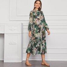 Tropical Print Ruffle Hem Shirt Dress