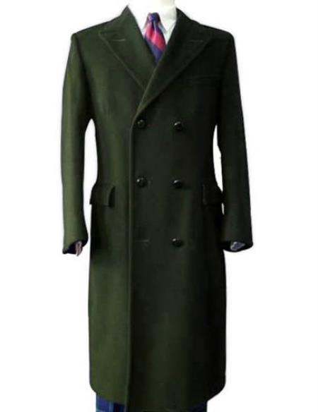 Alberto Nardoni Long Olive Green Overcoat Wool ~ Topcoat