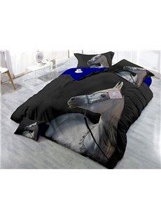 White Horse Wear-resistant Breathable High Quality 60s Cotton 4-Piece 3D Bedding Sets