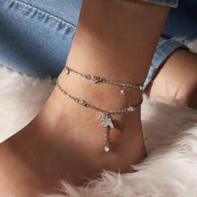 2pcs Rhinestone Decor Butterfly & Heart Decor Anklet