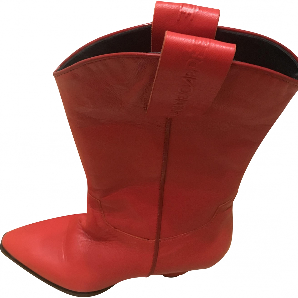 Non Signé / Unsigned \N Red Leather Ankle boots for Women 37 EU