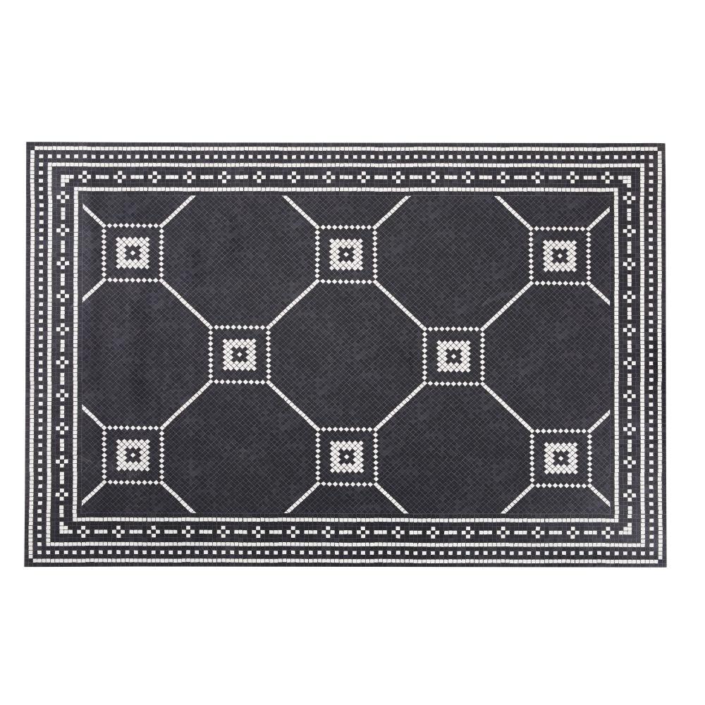 Vinyl-Teppich mit Zementfliesenmuster, schwarz und ecrufarben 100x150