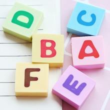6 piezas borrador con estampado de alfabeto