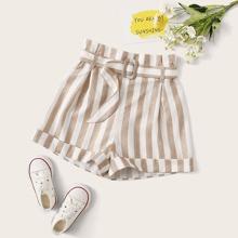 Shorts de niñas con cinturon de rayas bajo de doblez