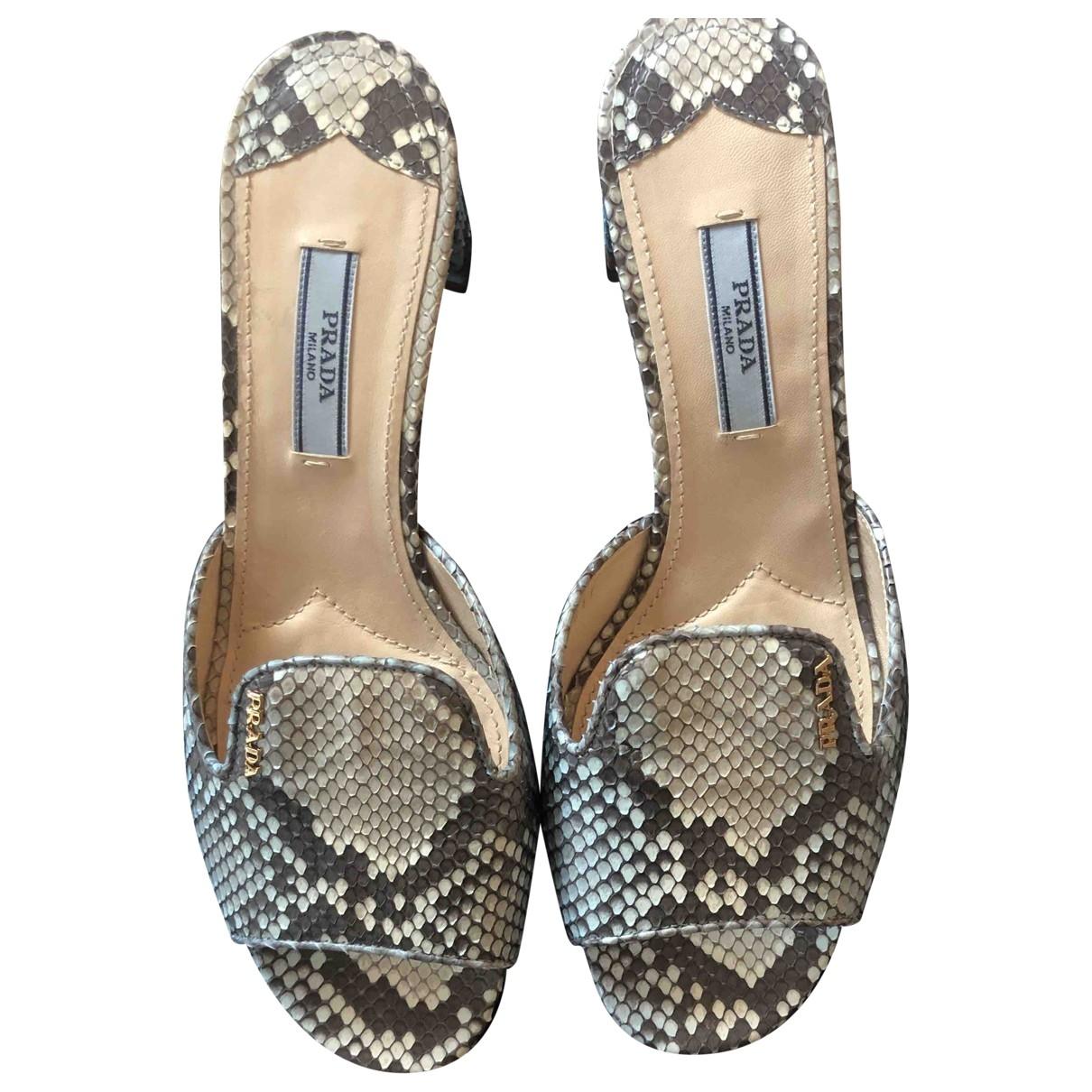 Prada - Sandales   pour femme en serpent deau - turquoise