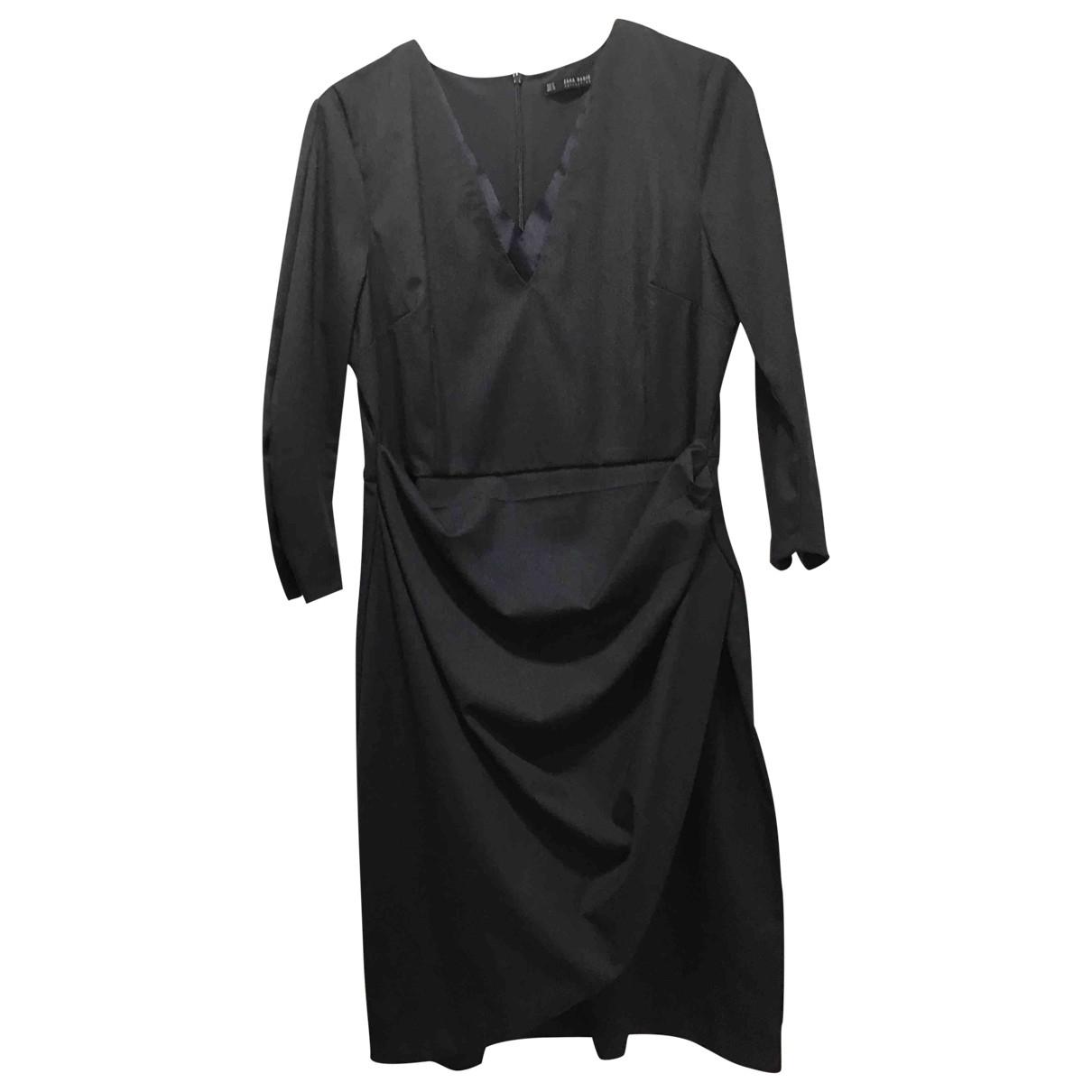 Zara \N Kleid in  Marine Polyester