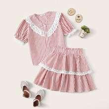 Girls Buttoned Front Schiffy Ruffle Trim Striped Blouse & Skirt Set