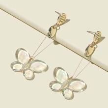 Transparente Ohrringe mit Schmetterling Dekor