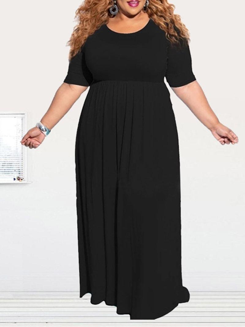 Ericdress Round Neck Short Sleeve Floor-Length Regular A-Line Dress