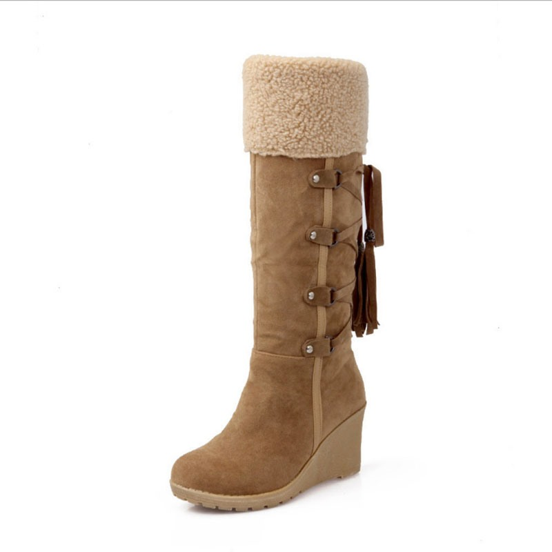 Ericdress Wedge Heel Round Toe Slip-On Western Boots
