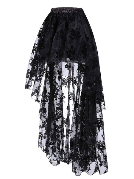 Milanoo Black Steampunk Costume Lace Layered Ruffle Skirt Vintage Clothing For Women