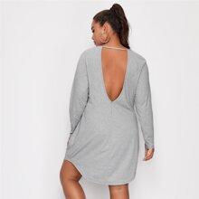T-Shirt Kleid mit Ausschnitt hinten und gebogenem Saum