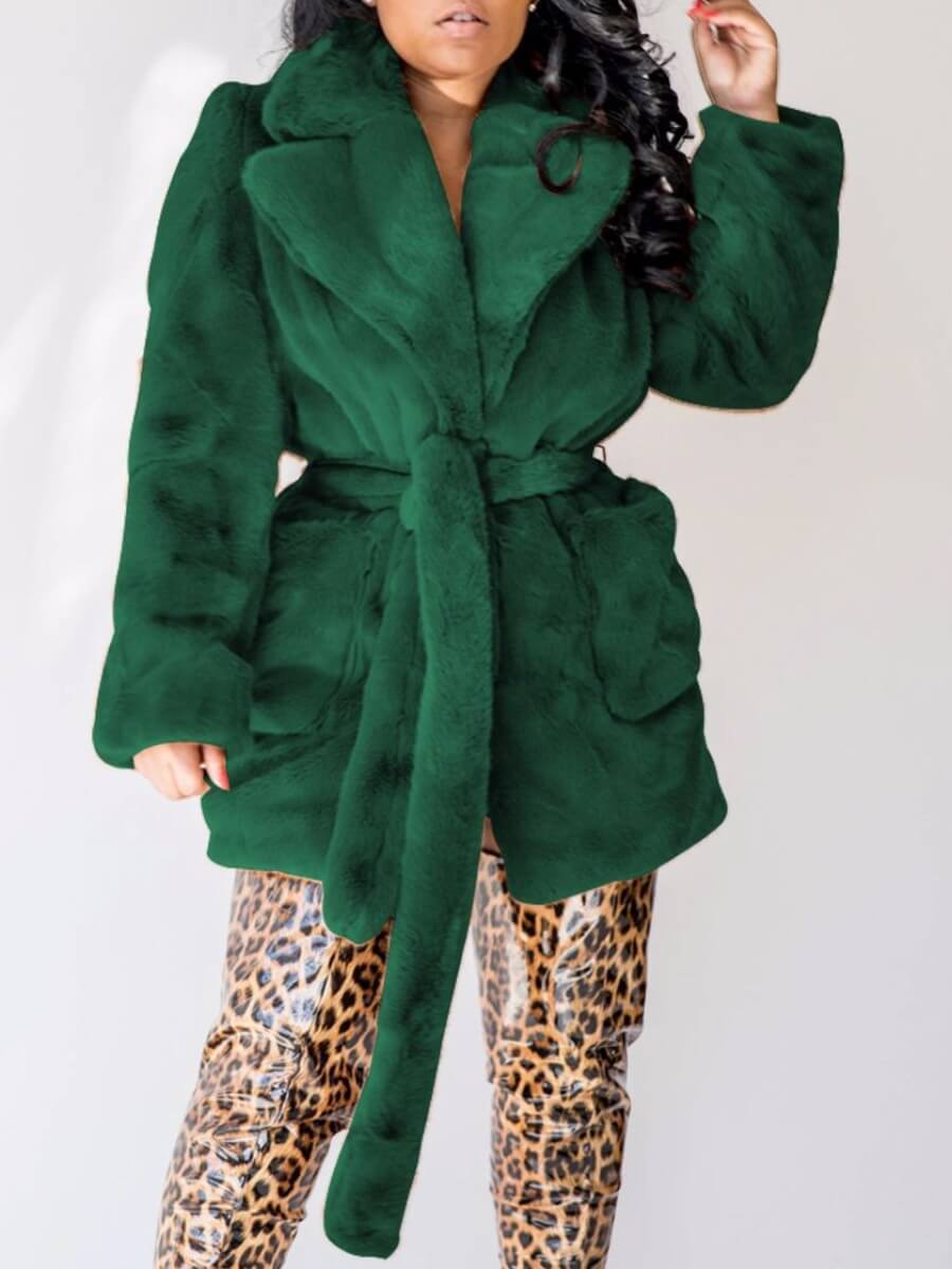 LW Lovely Stylish Turndown Collar Pocket Patched Blackish Green Faux Fur