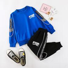Boys Letter Graphic Sweatshirt With Sweatpants