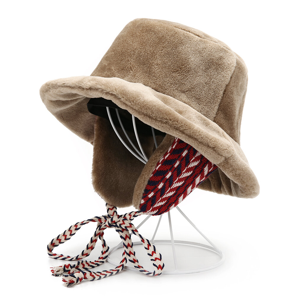 Women Warm Velvet Fisherman Earmuffs Hat Casual Outdoor Windproof Snow Japanese Wild Basin Cap