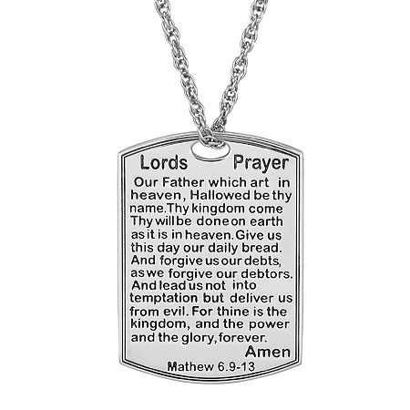 Personalized Lord's Prayer Pendant Necklace, One Size , White