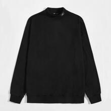 Pullover mit Flicken und Stehkragen