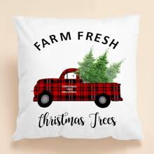 Weihnachten Kissenbezug mit Auto Muster ohne Fuellstoff