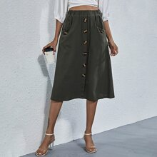 Button Front Dual Pocket Skirt