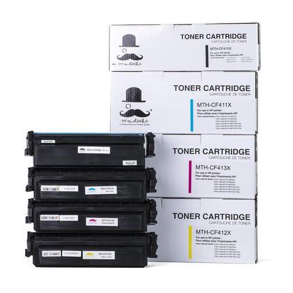 Compatible HP 410X cartouche de toner combo BK/C/M/Y haute capacité - Moustache®