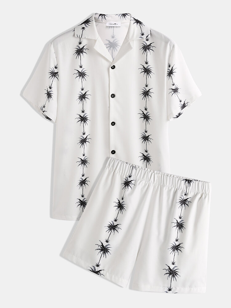 Plus Size Lapel Collar Two Pieces Sets Loose Holiday Vacation Printing Loungewear for Men