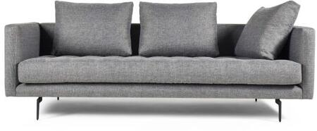 Granville 113-3MC2 3-Seat Sofa with Sleek Black Powder Coated Steel Legs  Solid Wood Frame and Tweed Upholstery in Light