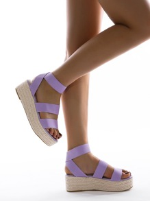 Open Toe Ankle Strap Espadrille Wedges