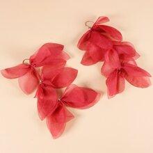 Fabric Flower Charm Drop Earrings