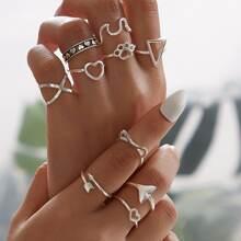 Ring mit Herzen & geometrischem Dekor 10 Stuecke