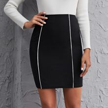 Contrast Piping Detail Skirt