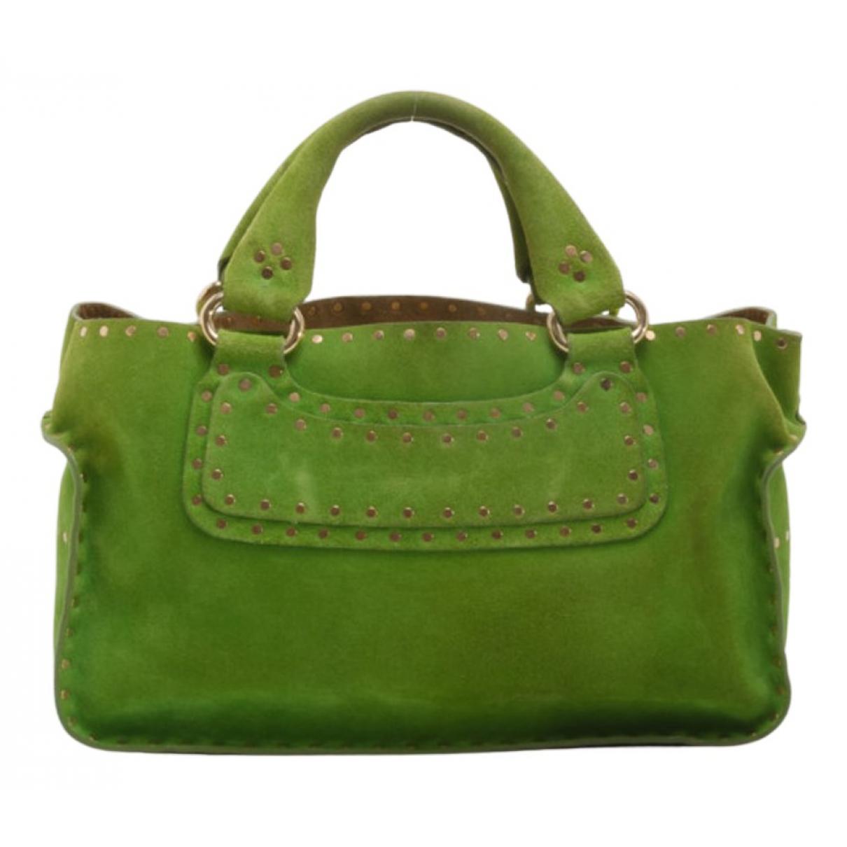 Celine Boogie Handtasche in  Gruen Veloursleder