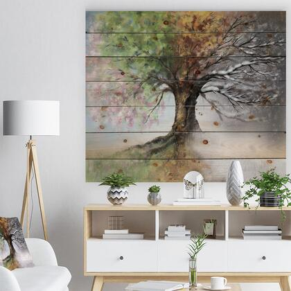 WD9283-46-36 Tree With Four Seasons - Tree Painting Print On Natural Pine Wood -