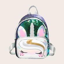 Girls Sequin Decor Cartoon Graphic Backpack