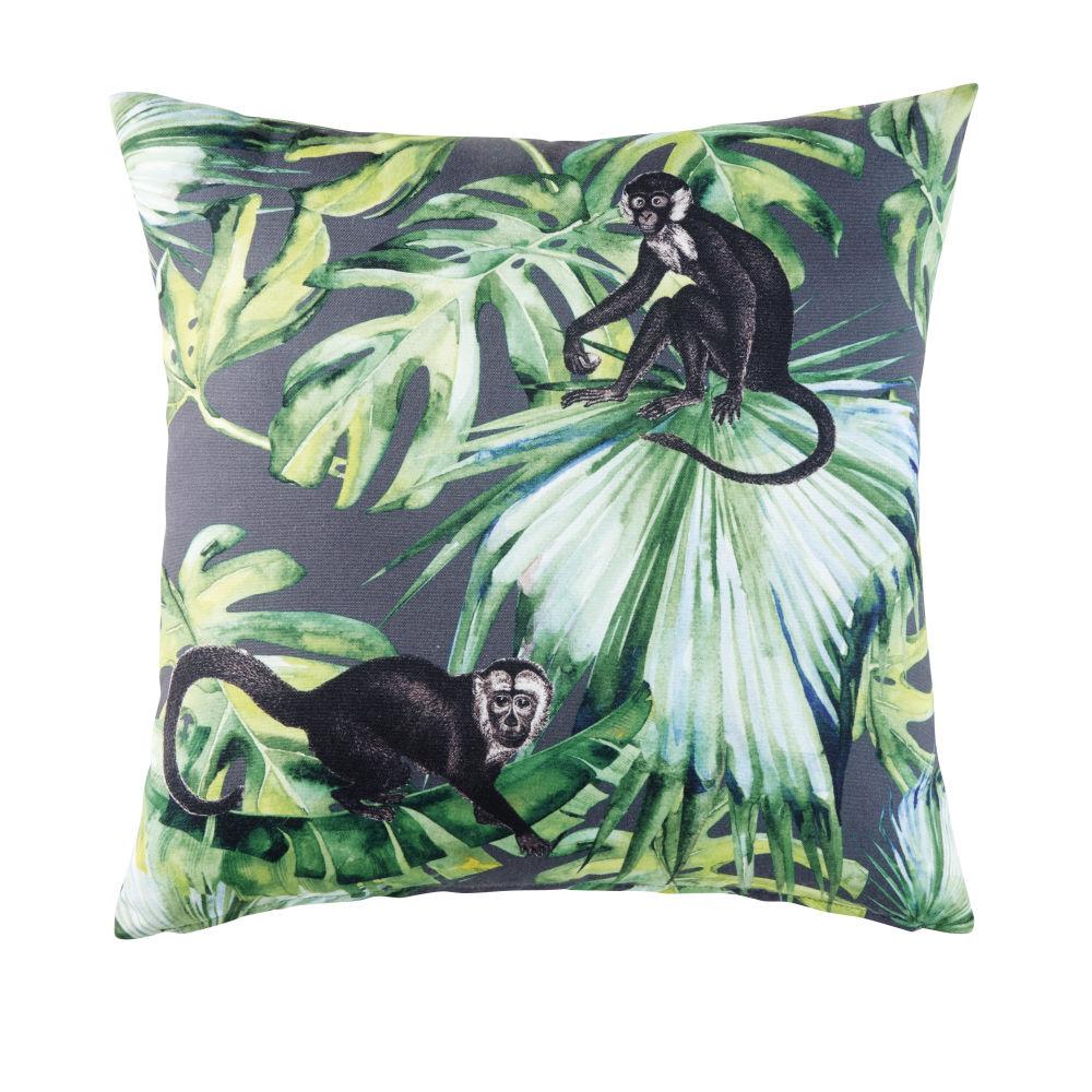 Outdoor-Kissen, gruen, bedruckt mit Dschungelmotiv 45x45