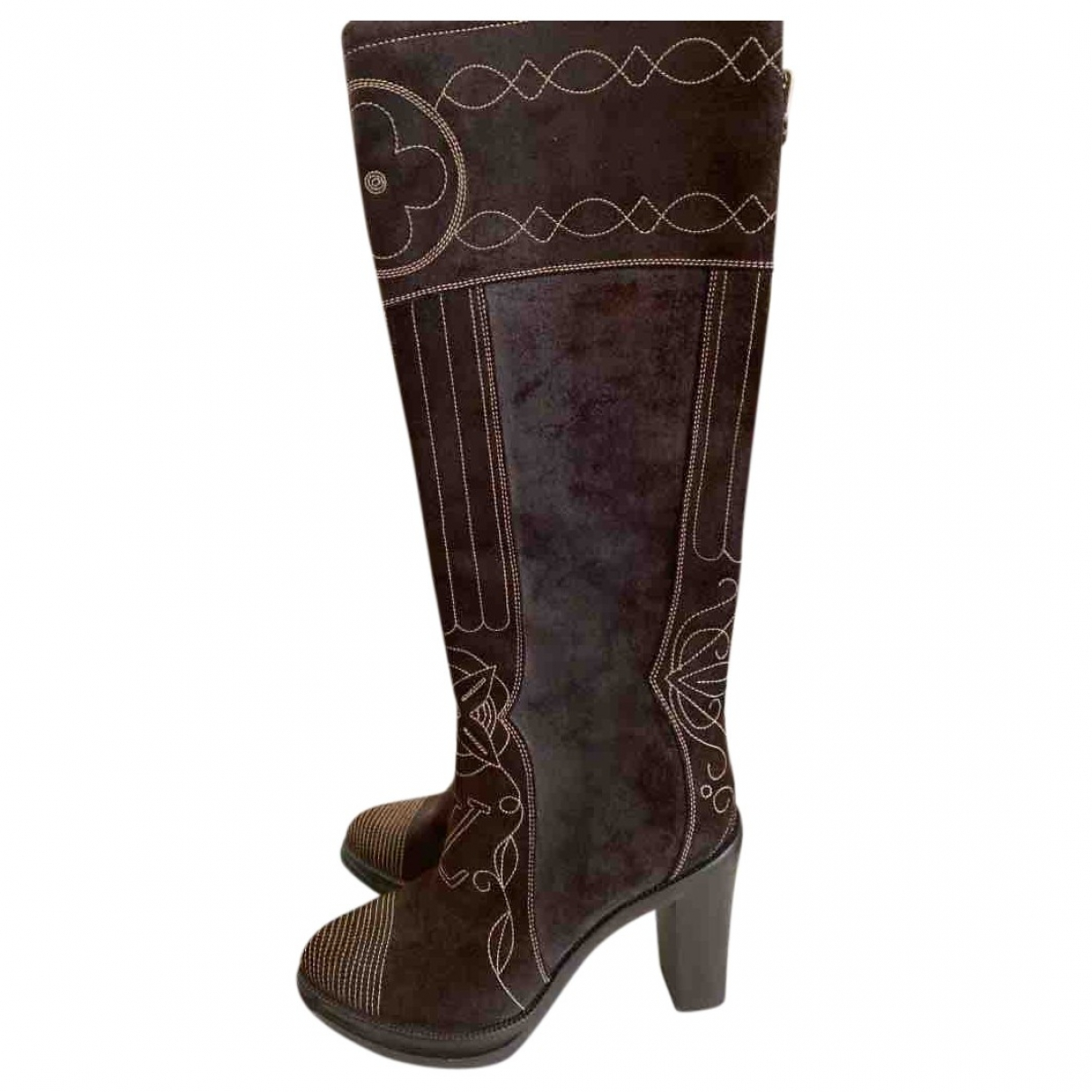 Louis Vuitton \N Brown Suede Boots for Women 37 EU