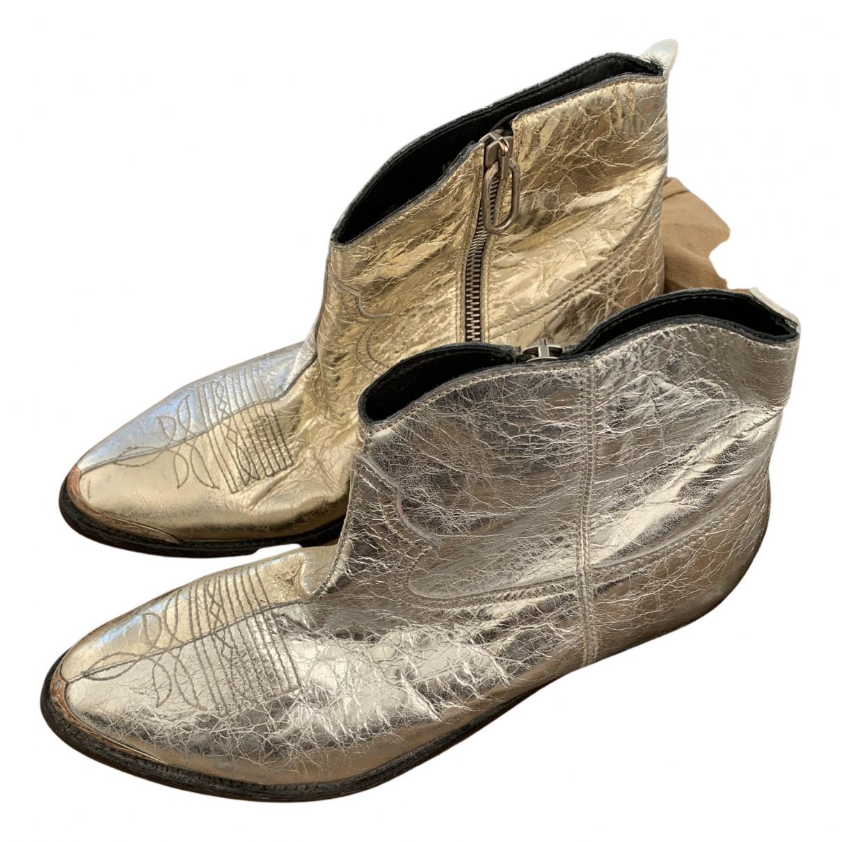 Golden Goose N Silver Leather Ankle boots for Women 38 IT