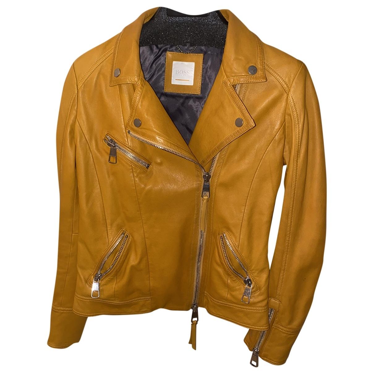Hugo Boss \N Yellow Leather jacket for Women 36 FR