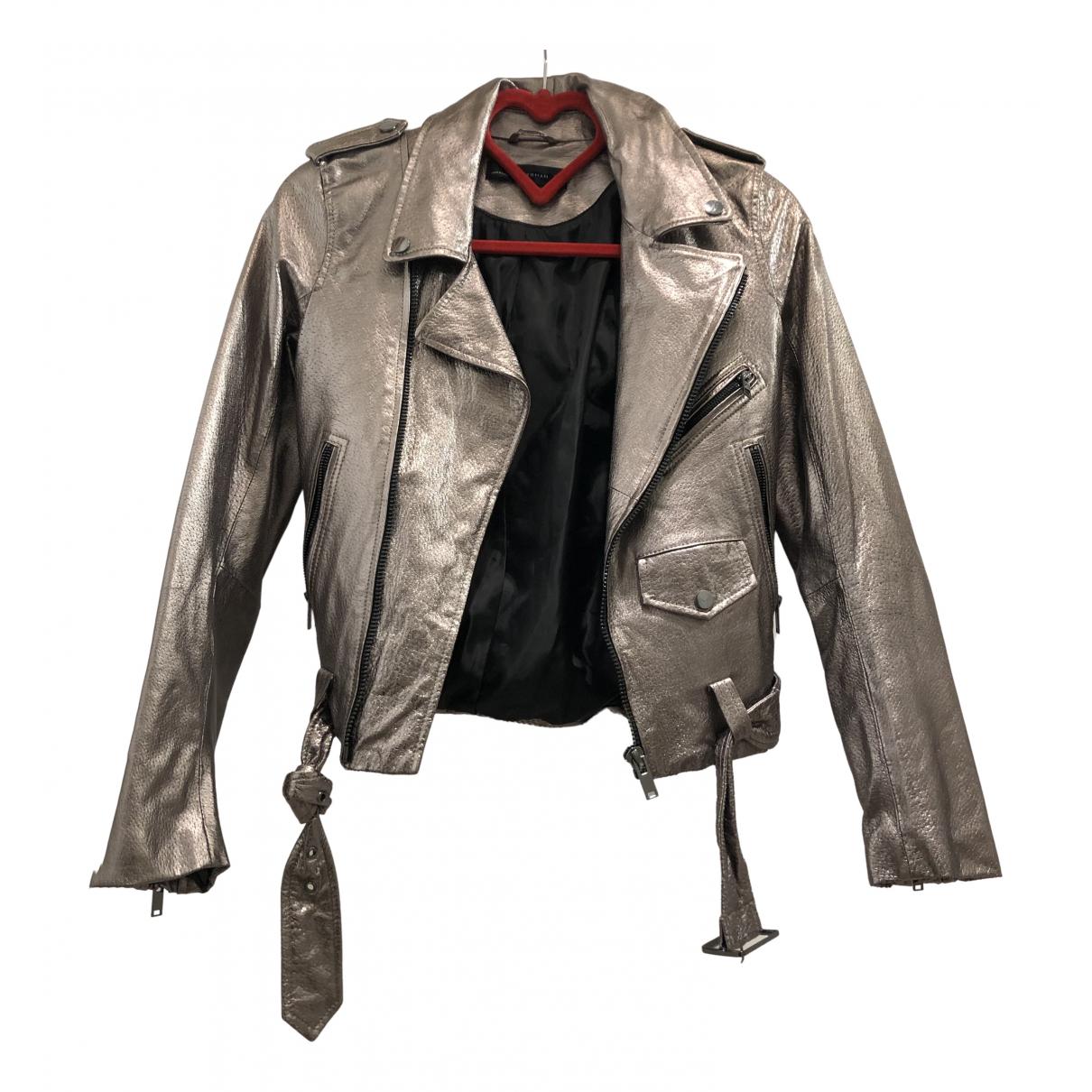 Zara - Veste   pour femme en cuir - metallise
