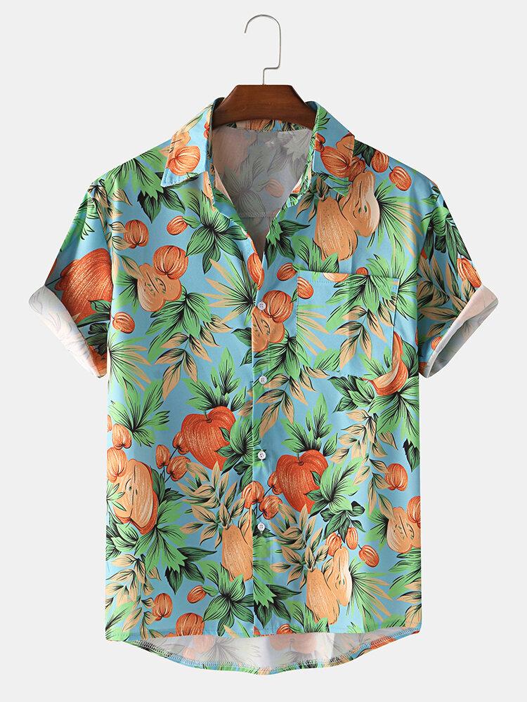 Mens Tropical Fruit Printed Casual Hawaiian Short Sleeve Shirt