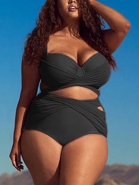 Milanoo Plus Size Swimwear Women Knotted Ruched High Waisted Bikini