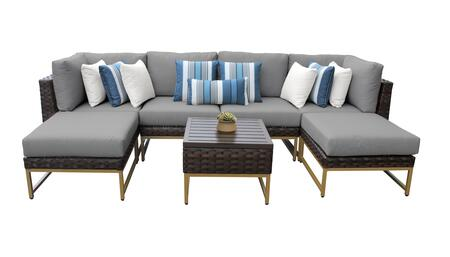 Barcelona BARCELONA-07a-GLD-GREY 7-Piece Patio Set 07a with 2 Corner Chairs  2 Armless Chairs  2 ottomans and 1 End Table - Beige and Grey Covers