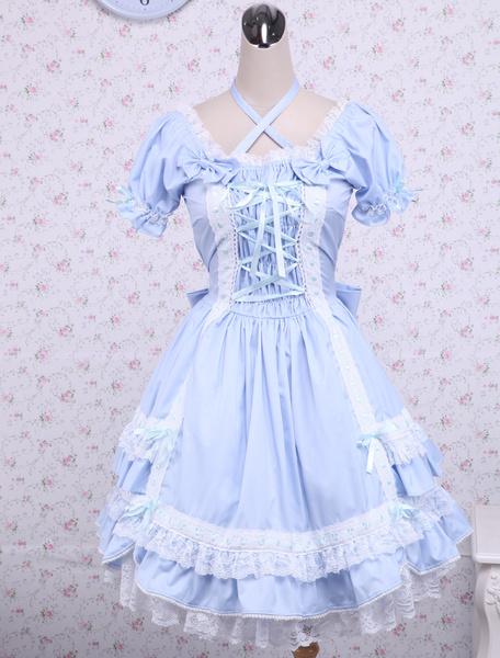 Milanoo Traje azul de lolita de algodon con escote cuadrado de estilo dulce