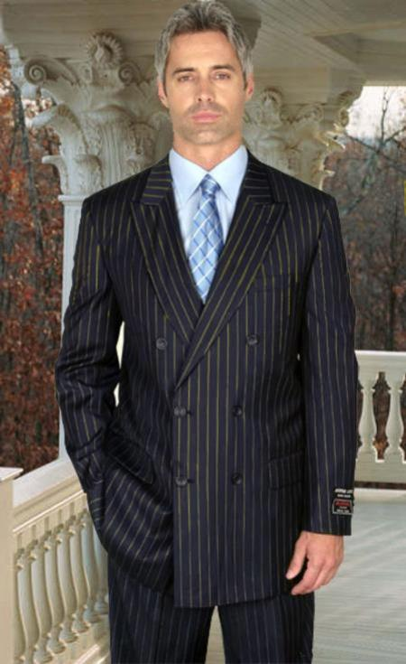 Alberto Nardoni Navy Blue and Gold Stripe  Super 150 Wool Suit