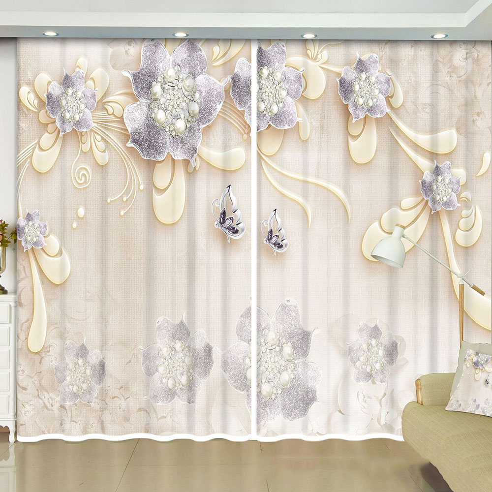 Floral Decoration Blackout Curtain Drapes for Living Room Bedroom No Pilling No Fading No off-lining