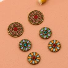3pairs Flower Pattern Stud Earrings