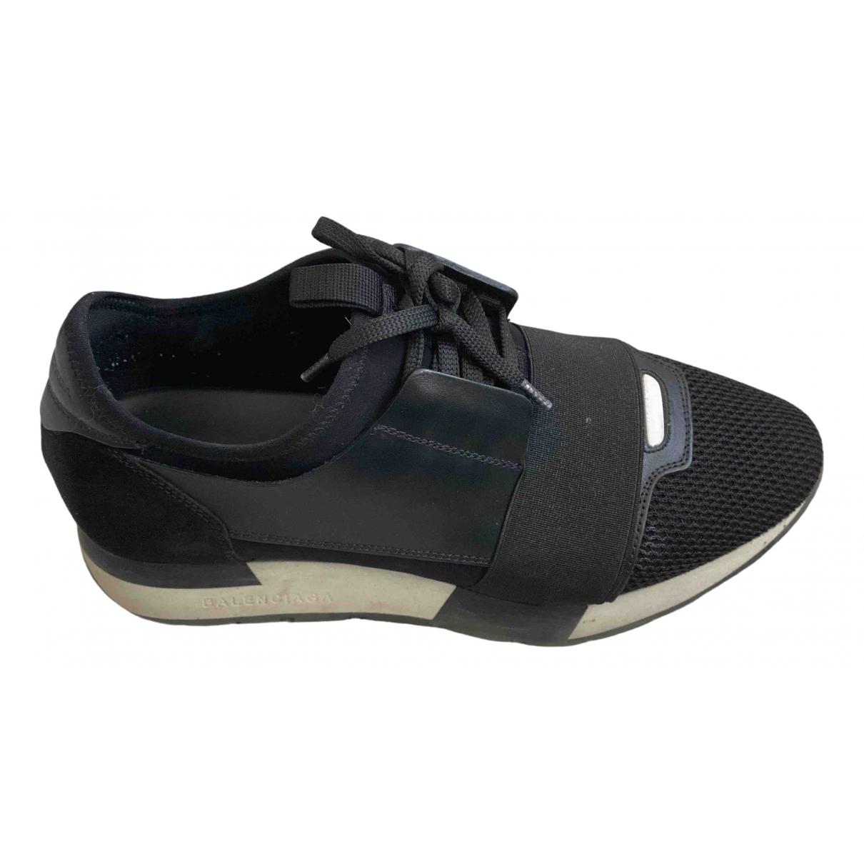 Balenciaga Race Black Leather Trainers for Women 36 EU
