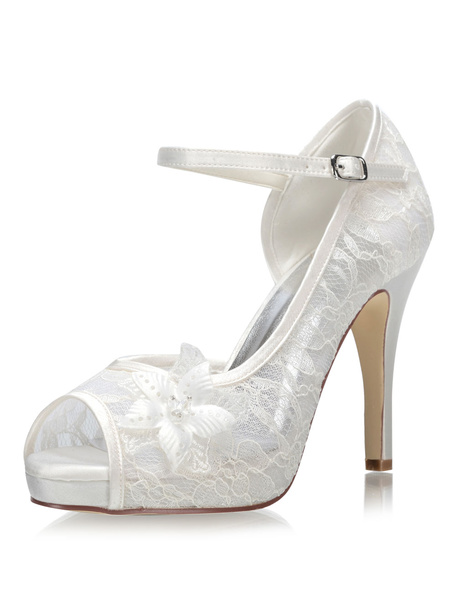 Milanoo Lace Wedding Shoes Ivory Peep Toe Flowers Detail High Heel Bridal Shoes