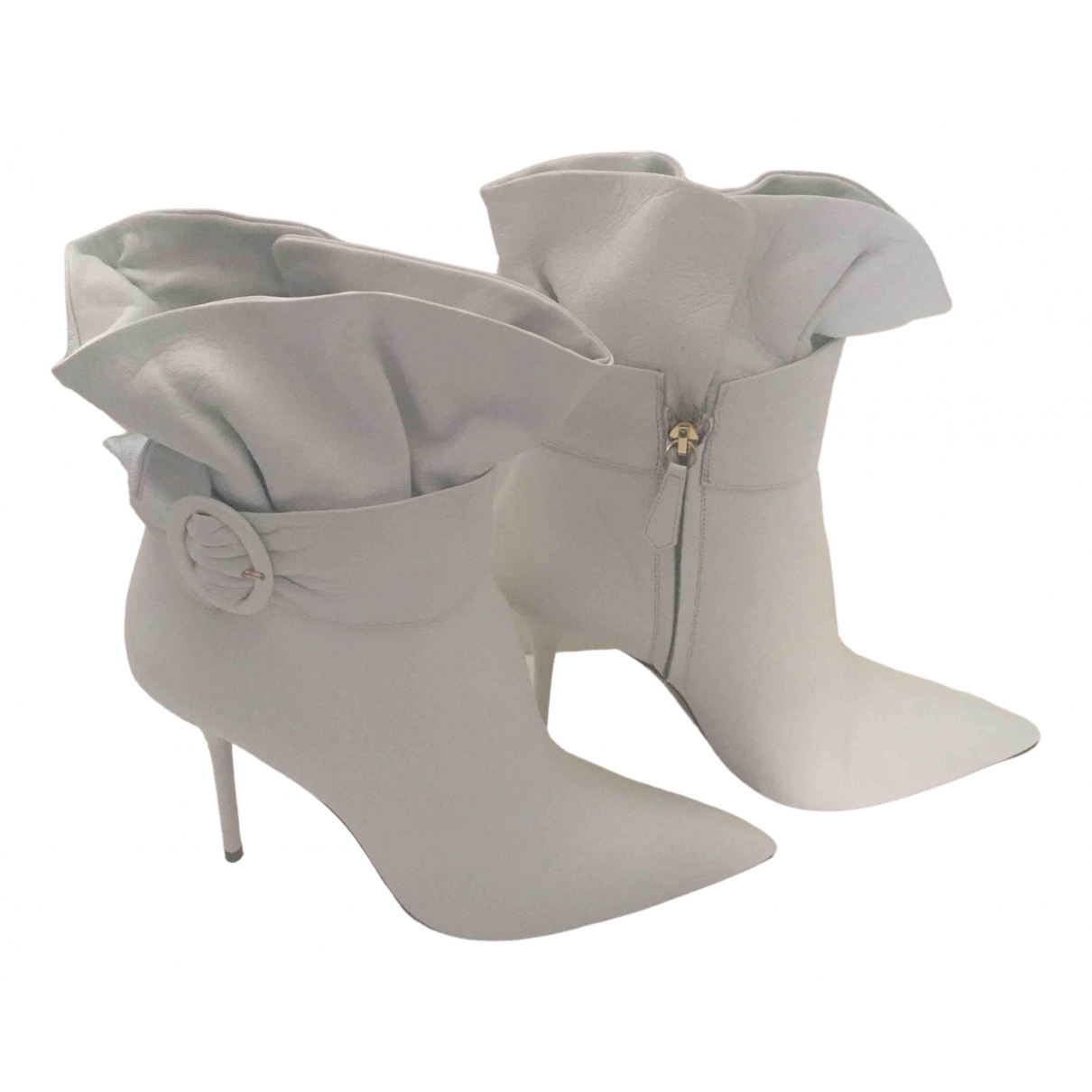 Aquazzura \N White Leather Ankle boots for Women 41 EU