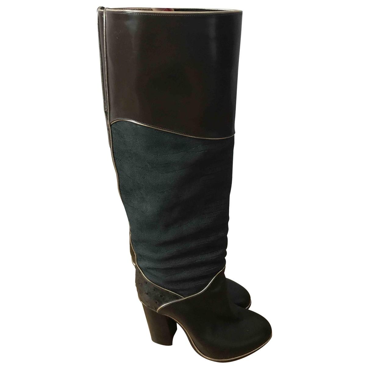 Lanvin - Bottes   pour femme en cuir - kaki